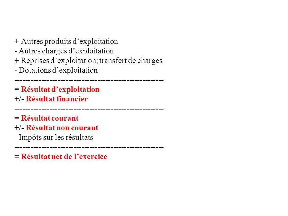 + Autres produits dexploitation - Autres charges dexploitation + Reprises dexploitation; transfert de charges - Dotations dexploitation --------------