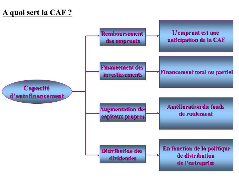 A quoi sert la CAF ? Capacitédautofinancement Remboursement des emprunts Lemprunt est une anticipation de la CAF Financement des investissements Finan