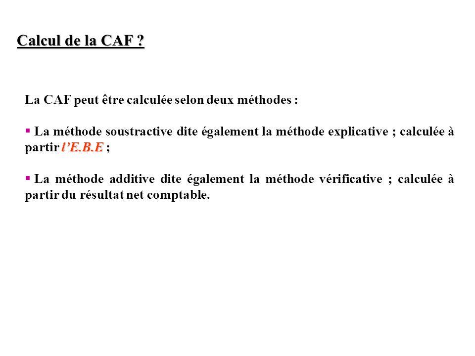 Calcul de la CAF ? La CAF peut être calculée selon deux méthodes : lE.B.E La méthode soustractive dite également la méthode explicative ; calculée à p