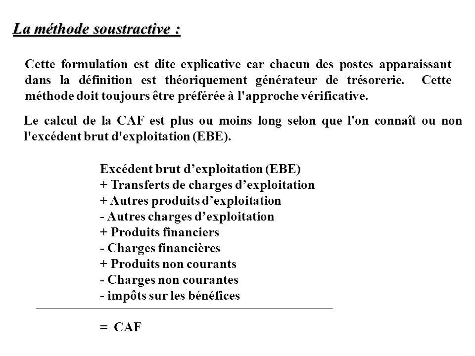 Le calcul de la CAF est plus ou moins long selon que l'on connaît ou non l'excédent brut d'exploitation (EBE). Cette formulation est dite explicative