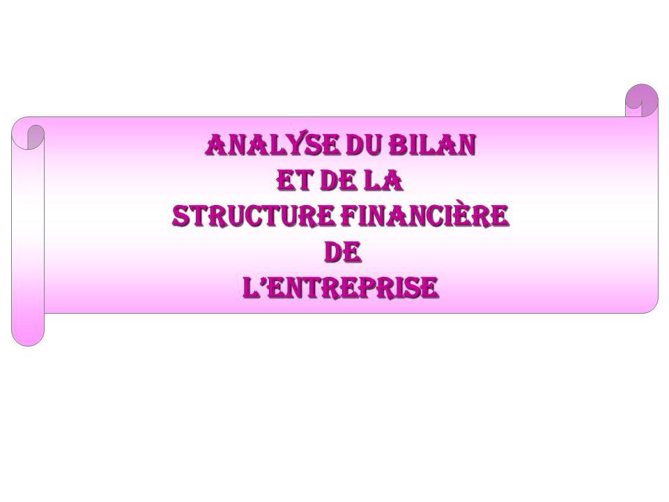 analyse du bilan et de la structure financière DeLentreprise