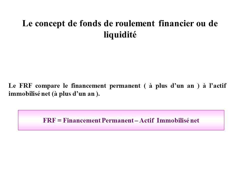 Le concept de fonds de roulement financier ou de liquidité Le FRF compare le financement permanent ( à plus dun an ) à lactif immobilisé net (à plus d
