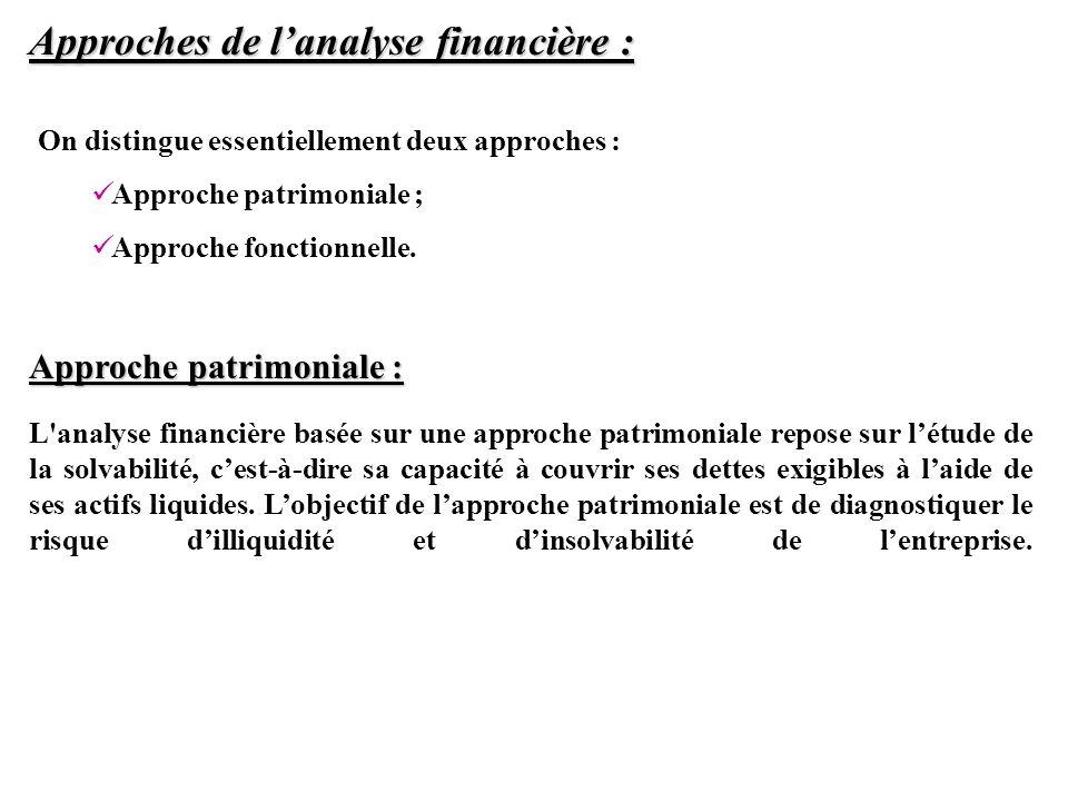 Approches de lanalyse financière : Approche patrimoniale : L'analyse financière basée sur une approche patrimoniale repose sur létude de la solvabilit