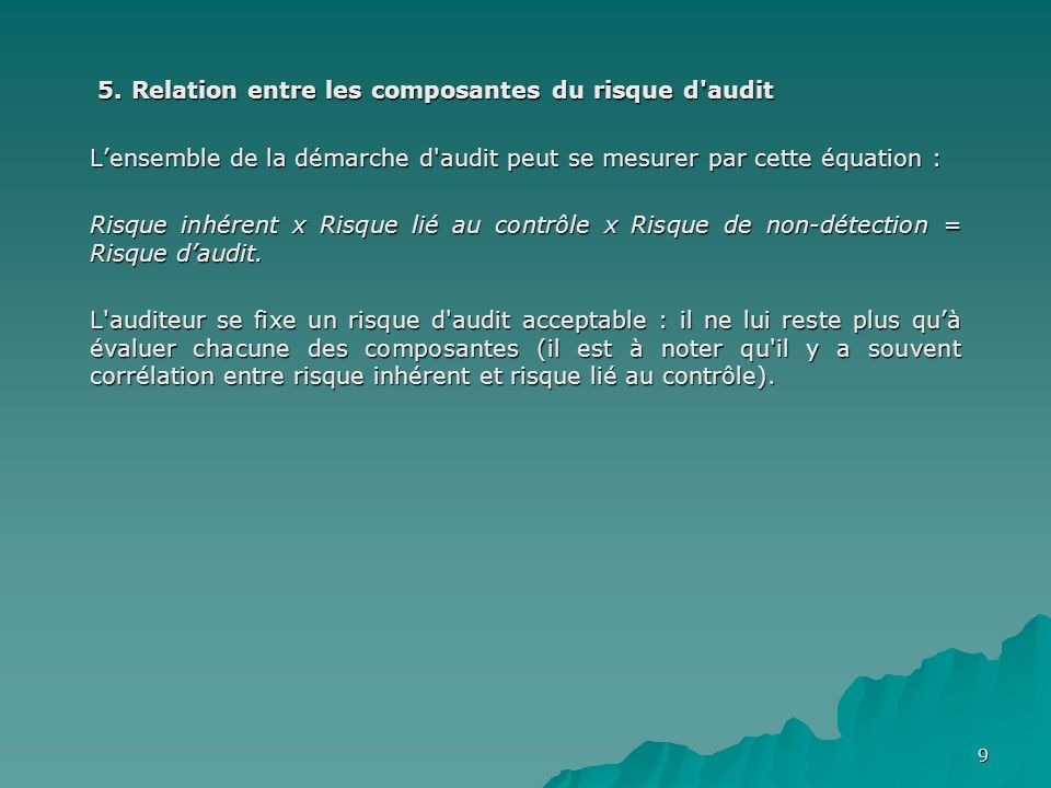 9 5. Relation entre les composantes du risque d'audit 5. Relation entre les composantes du risque d'audit Lensemble de la démarche d'audit peut se mes