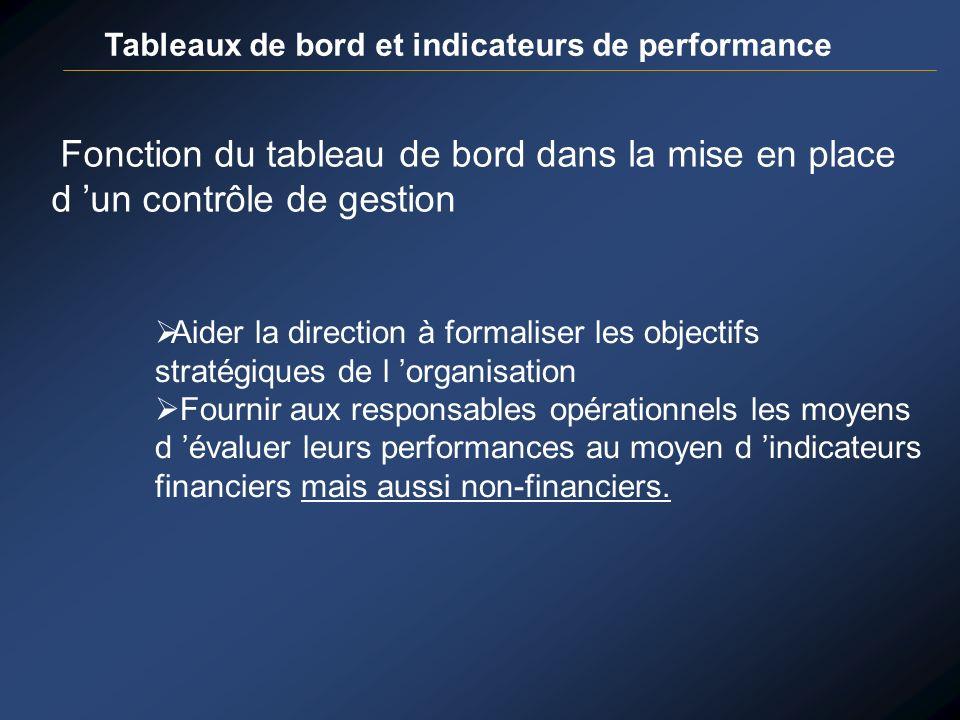 Tableaux de bord et indicateurs de performance Fonction du tableau de bord dans la mise en place d un contrôle de gestion Aider la direction à formali