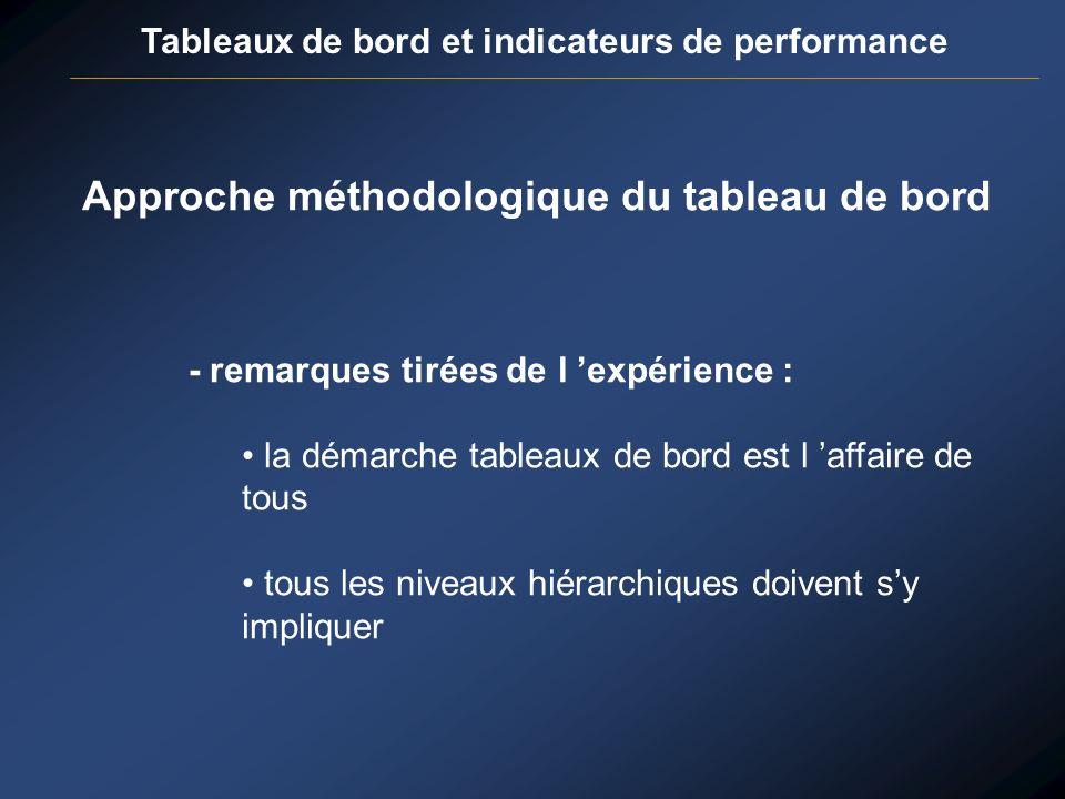 Tableaux de bord et indicateurs de performance Approche méthodologique du tableau de bord - remarques tirées de l expérience : la démarche tableaux de