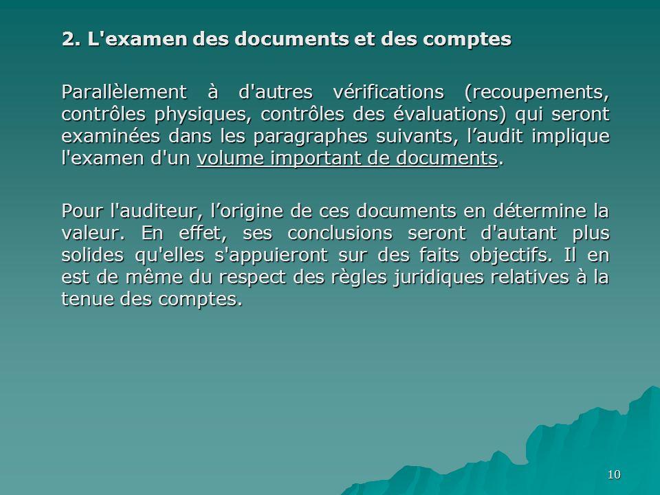 10 2. L'examen des documents et des comptes Parallèlement à d'autres vérifications (recoupements, contrôles physiques, contrôles des évaluations) qui