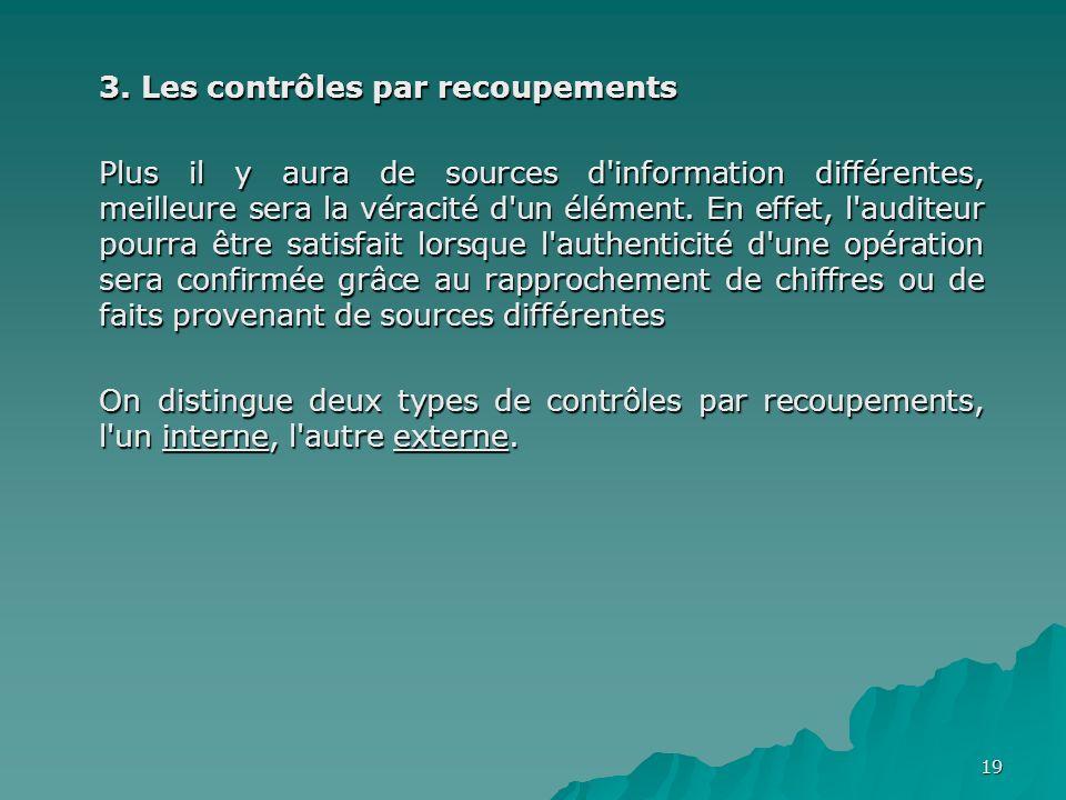 19 3. Les contrôles par recoupements Plus il y aura de sources d'information différentes, meilleure sera la véracité d'un élément. En effet, l'auditeu