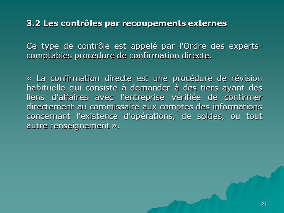 21 3.2 Les contrôles par recoupements externes Ce type de contrôle est appelé par l'Ordre des experts- comptables procédure de confirmation directe. «