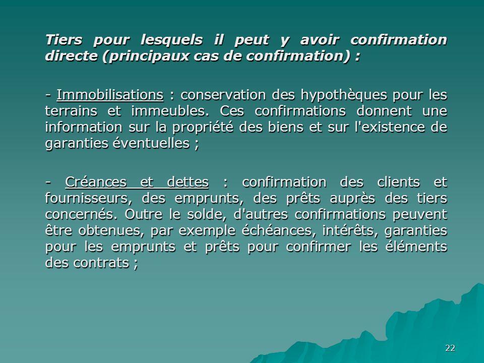 22 Tiers pour lesquels il peut y avoir confirmation directe (principaux cas de confirmation) : - Immobilisations : conservation des hypothèques pour l