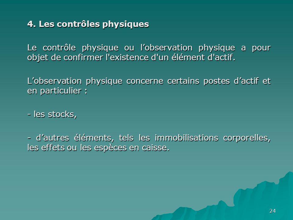 24 4. Les contrôles physiques Le contrôle physique ou lobservation physique a pour objet de confirmer l'existence d'un élément d'actif. Lobservation p