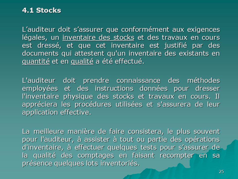 25 4.1 Stocks Lauditeur doit sassurer que conformément aux exigences légales, un inventaire des stocks et des travaux en cours est dressé, et que cet