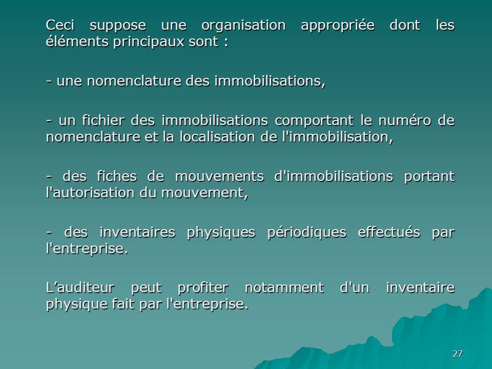 27 Ceci suppose une organisation appropriée dont les éléments principaux sont : - une nomenclature des immobilisations, - un fichier des immobilisatio