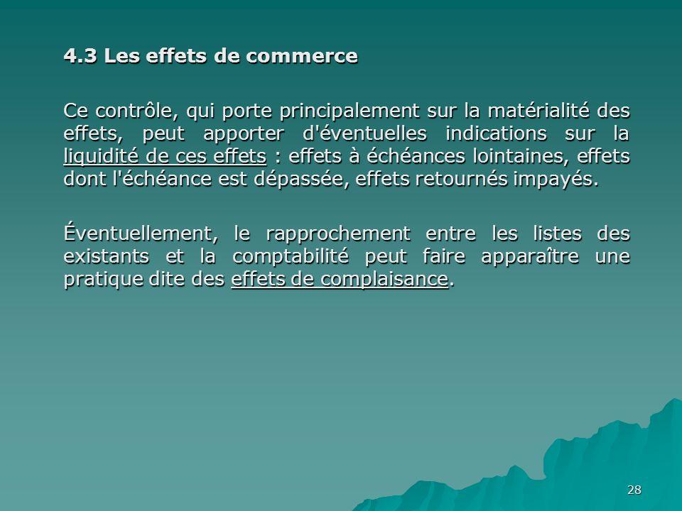28 4.3 Les effets de commerce Ce contrôle, qui porte principalement sur la matérialité des effets, peut apporter d'éventuelles indications sur la liqu
