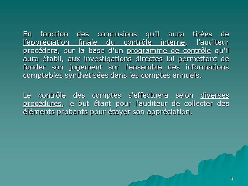 3 En fonction des conclusions qu'il aura tirées de lappréciation finale du contrôle interne, l'auditeur procédera, sur la base d'un programme de contr