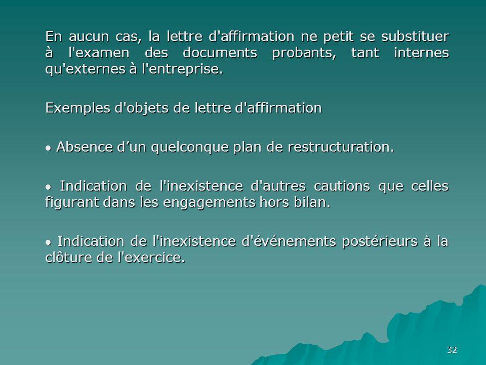 32 En aucun cas, la lettre d'affirmation ne petit se substituer à l'examen des documents probants, tant internes qu'externes à l'entreprise. Exemples