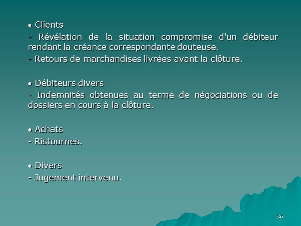 36 Clients Clients - Révélation de la situation compromise d'un débiteur rendant la créance correspondante douteuse. - Retours de marchandises livrées