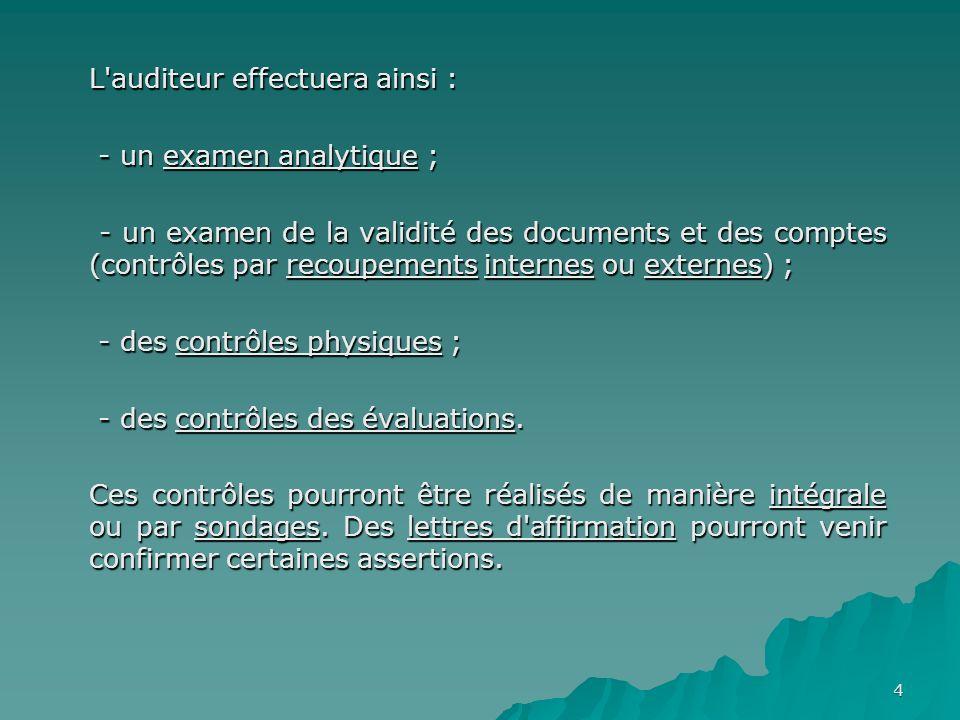 4 L'auditeur effectuera ainsi : - un examen analytique ; - un examen analytique ; - un examen de la validité des documents et des comptes (contrôles p