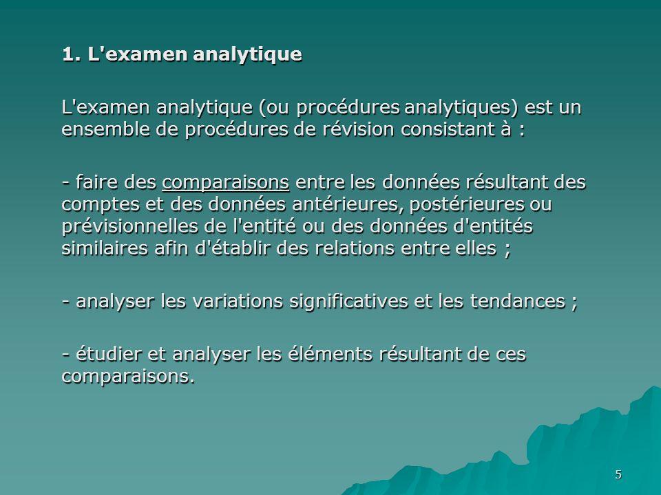 5 1. L'examen analytique L'examen analytique (ou procédures analytiques) est un ensemble de procédures de révision consistant à : - faire des comparai