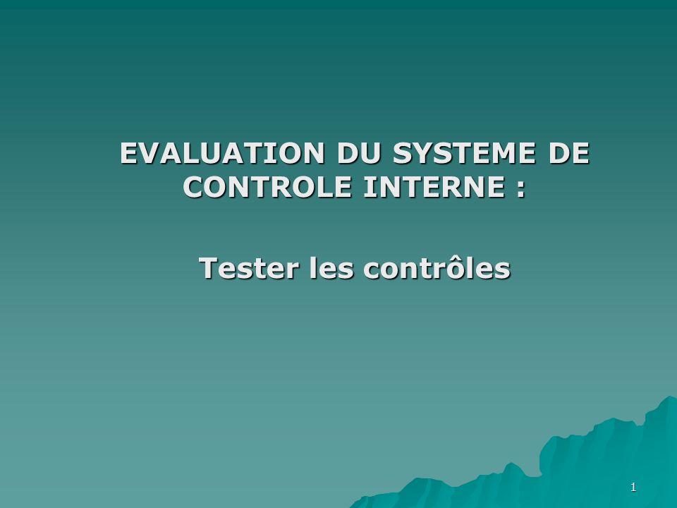 1 EVALUATION DU SYSTEME DE CONTROLE INTERNE : Tester les contrôles