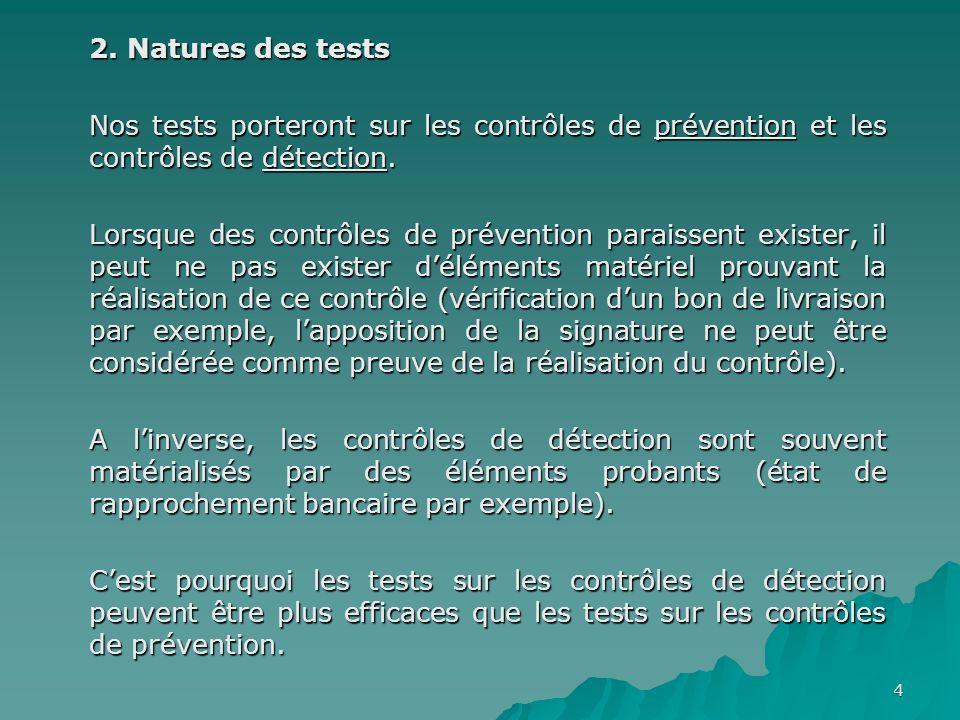 4 2. Natures des tests Nos tests porteront sur les contrôles de prévention et les contrôles de détection. Lorsque des contrôles de prévention paraisse