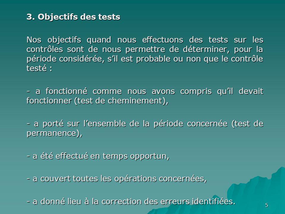 5 3. Objectifs des tests Nos objectifs quand nous effectuons des tests sur les contrôles sont de nous permettre de déterminer, pour la période considé
