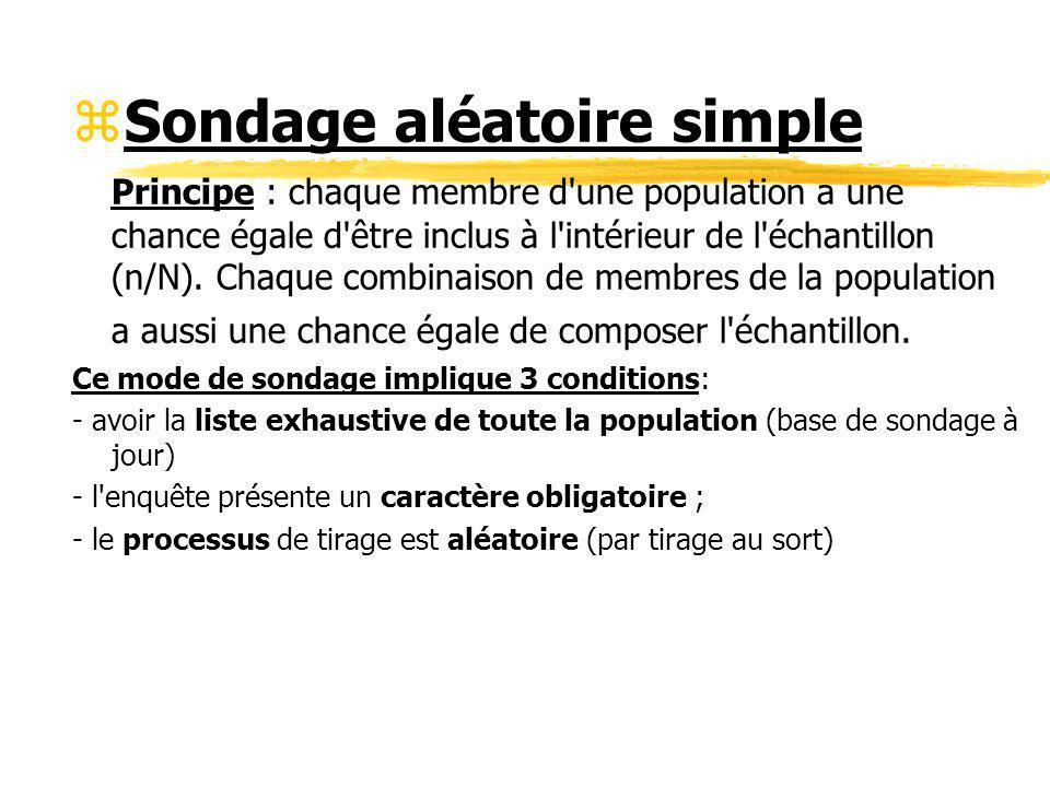 zSondage aléatoire simple Principe : chaque membre d'une population a une chance égale d'être inclus à l'intérieur de l'échantillon (n/N). Chaque comb