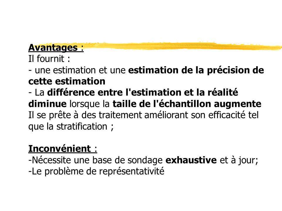 Avantages : Il fournit : - une estimation et une estimation de la précision de cette estimation - La différence entre l'estimation et la réalité dimin
