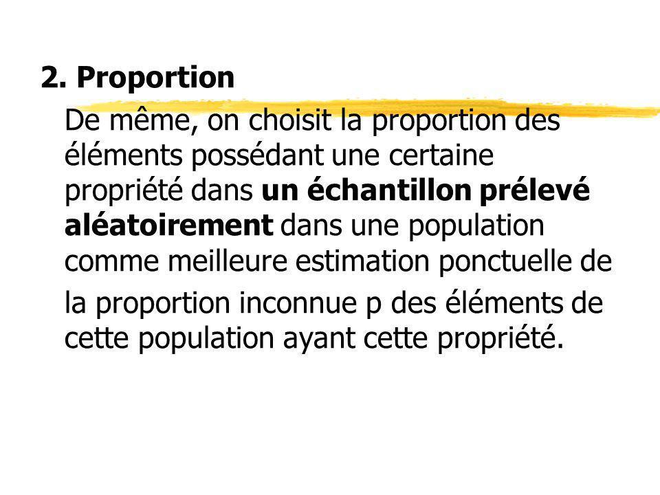2. Proportion De même, on choisit la proportion des éléments possédant une certaine propriété dans un échantillon prélevé aléatoirement dans une popul