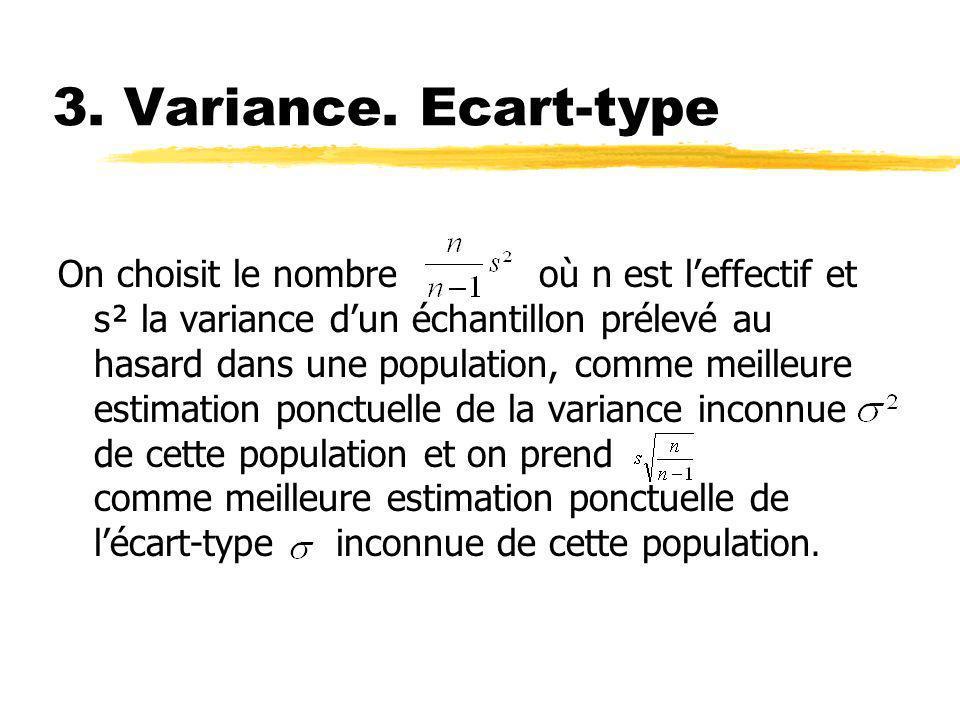 3. Variance. Ecart-type On choisit le nombre où n est leffectif et s² la variance dun échantillon prélevé au hasard dans une population, comme meilleu