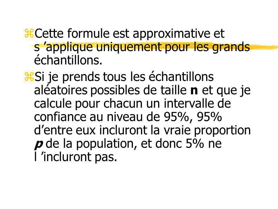 zCette formule est approximative et s applique uniquement pour les grands échantillons. zSi je prends tous les échantillons aléatoires possibles de ta