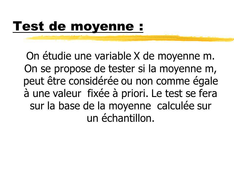 Test de moyenne : On étudie une variable X de moyenne m. On se propose de tester si la moyenne m, peut être considérée ou non comme égale à une valeur