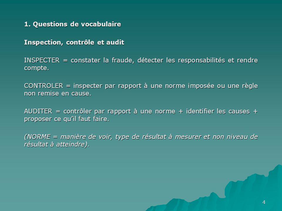 4 1. Questions de vocabulaire Inspection, contrôle et audit INSPECTER = constater la fraude, détecter les responsabilités et rendre compte. CONTROLER