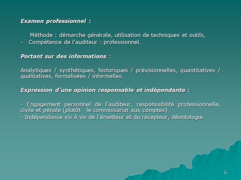 6 Examen professionnel : Examen professionnel : Méthode : démarche générale, utilisation de techniques et outils, Méthode : démarche générale, utilisation de techniques et outils, - Compétence de lauditeur : professionnel.