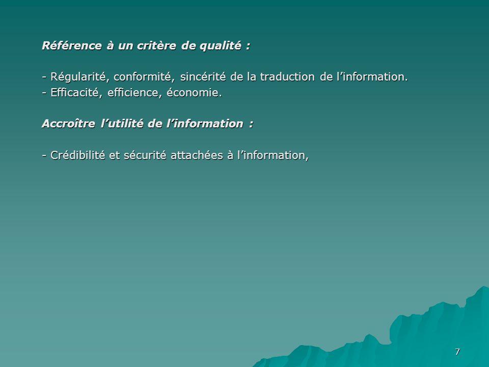 7 Référence à un critère de qualité : - Régularité, conformité, sincérité de la traduction de linformation.