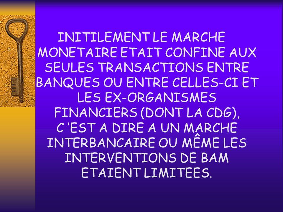 1. DEFINITION LE MARCHE MONETAIRE PEUT ETRE DEFINI COMME LE MARCHE DES CAPITAUX A COURT ET MOYEN TERME, PAR OPPOSITION AU MARCHE FINANCIER SUR LEQUEL
