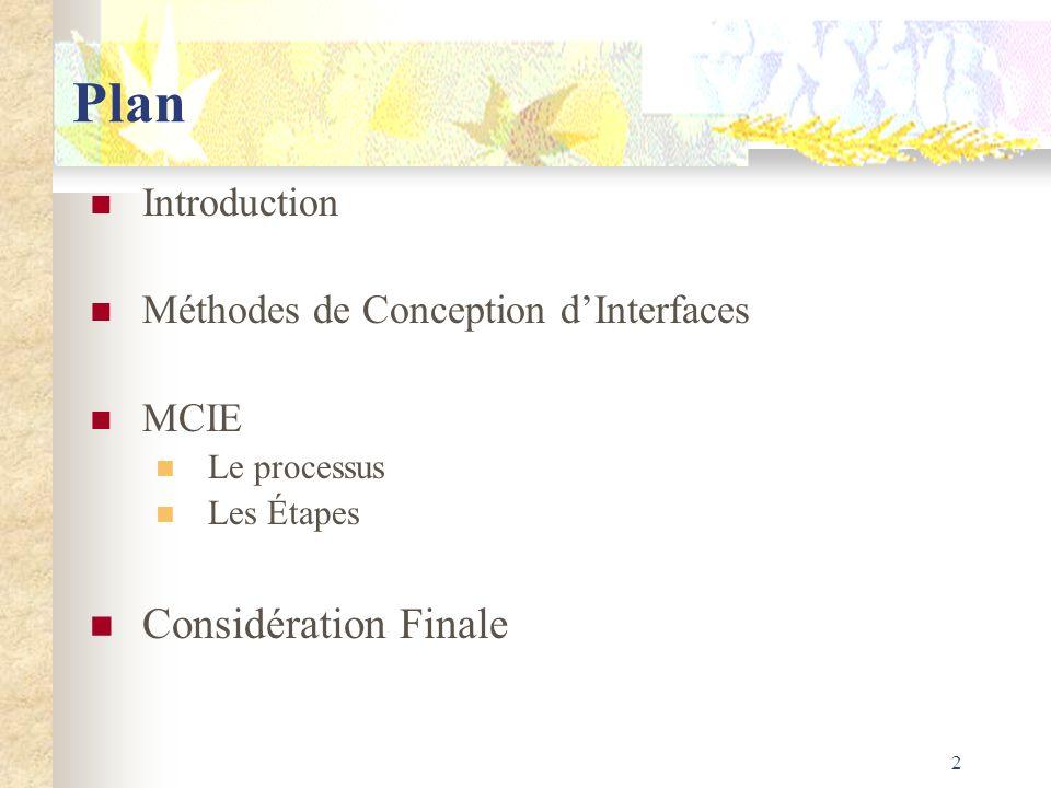 2 Plan Introduction Méthodes de Conception dInterfaces MCIE Le processus Les Étapes Considération Finale