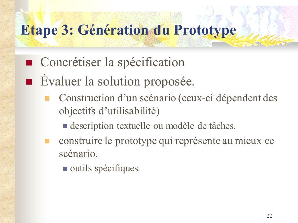 22 Etape 3: Génération du Prototype Concrétiser la spécification Évaluer la solution proposée. Construction dun scénario (ceux-ci dépendent des object