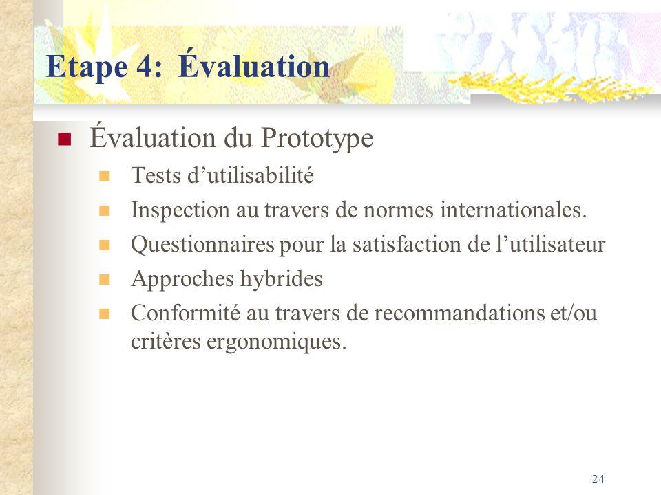 24 Etape 4:Évaluation Évaluation du Prototype Tests dutilisabilité Inspection au travers de normes internationales. Questionnaires pour la satisfactio