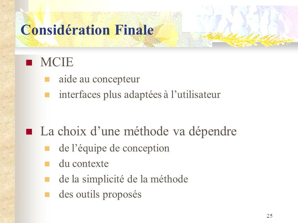 25 Considération Finale MCIE aide au concepteur interfaces plus adaptées à lutilisateur La choix dune méthode va dépendre de léquipe de conception du
