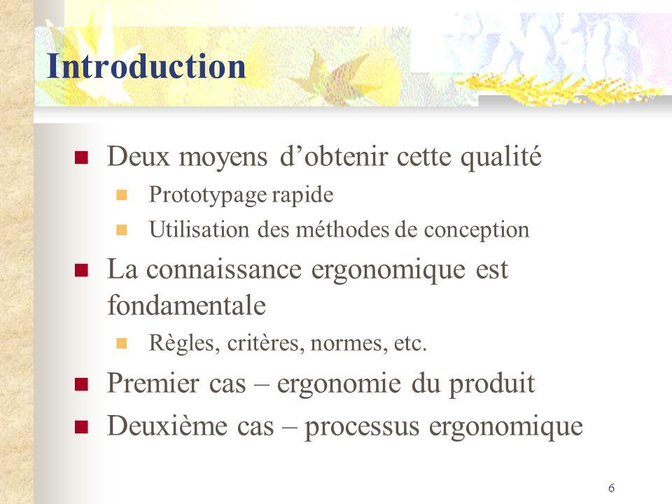 6 Introduction Deux moyens dobtenir cette qualité Prototypage rapide Utilisation des méthodes de conception La connaissance ergonomique est fondamenta