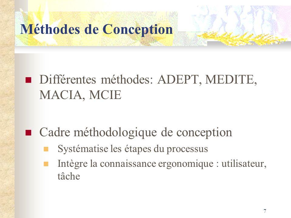 7 Méthodes de Conception Différentes méthodes: ADEPT, MEDITE, MACIA, MCIE Cadre méthodologique de conception Systématise les étapes du processus Intèg