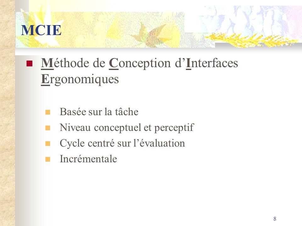 8 MCIE Méthode de Conception dInterfaces Ergonomiques Basée sur la tâche Niveau conceptuel et perceptif Cycle centré sur lévaluation Incrémentale