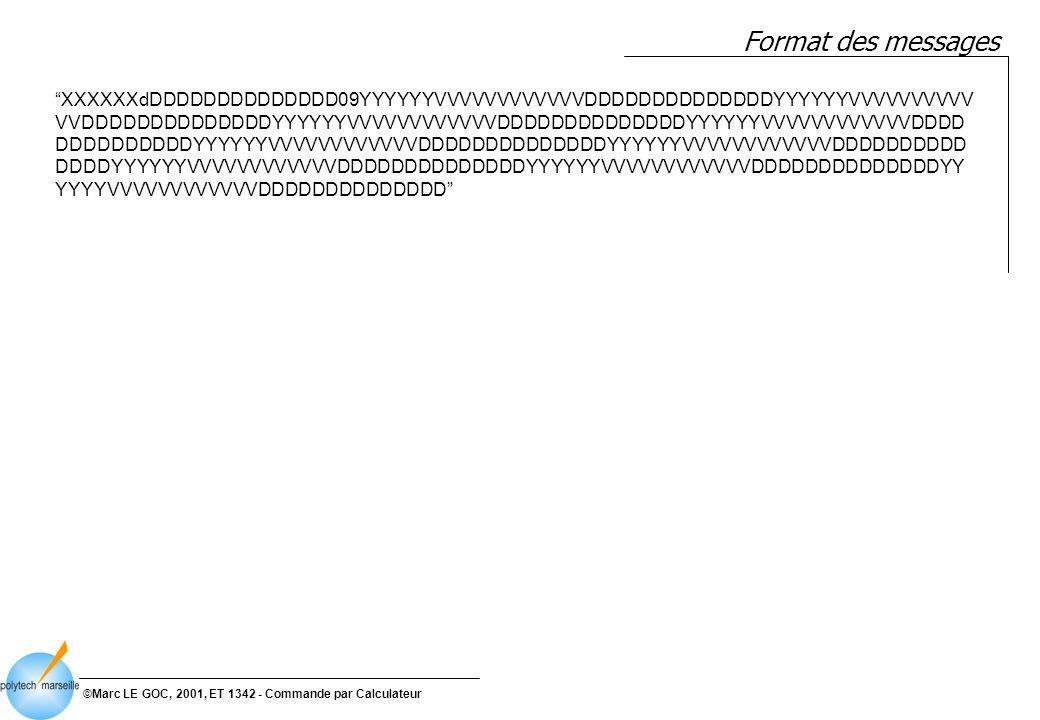 ©Marc LE GOC, 2001, ET 1342 - Commande par Calculateur DCD Bus de Pilotage 0* Transmission messages Message-Entrant Message-Sortant