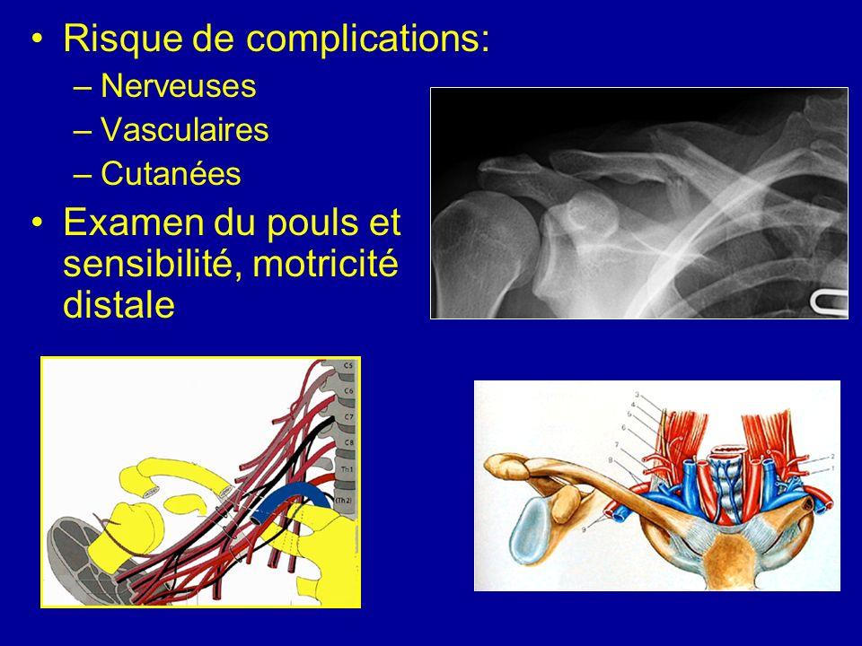 Risque de complications: –Nerveuses –Vasculaires –Cutanées Examen du pouls et sensibilité, motricité distale
