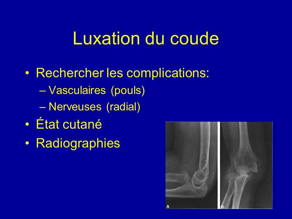 Luxation du coude Rechercher les complications: –Vasculaires (pouls) –Nerveuses (radial) État cutané Radiographies