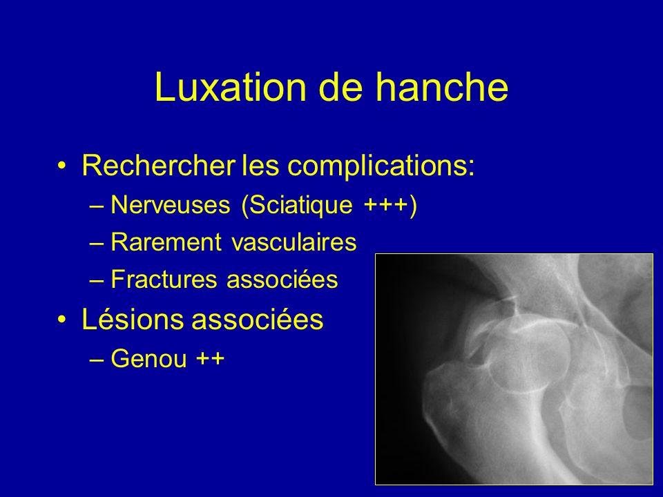 Luxation de hanche Rechercher les complications: –Nerveuses (Sciatique +++) –Rarement vasculaires –Fractures associées Lésions associées –Genou ++
