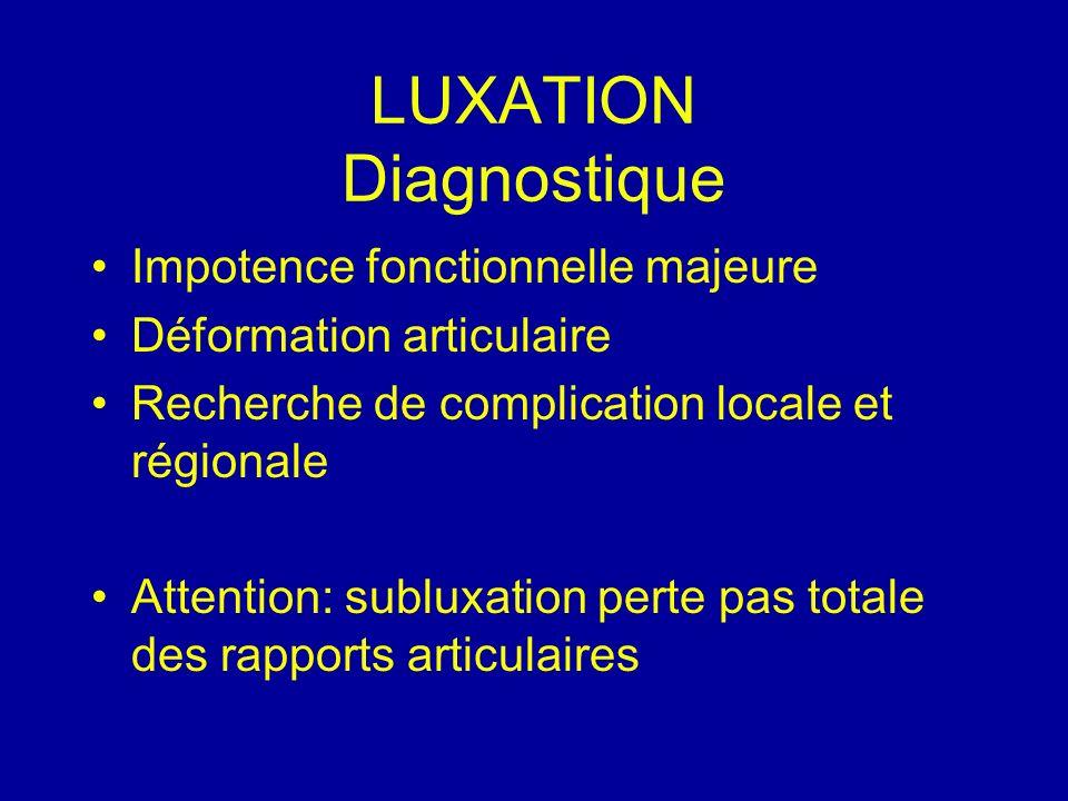 LUXATION Diagnostique Impotence fonctionnelle majeure Déformation articulaire Recherche de complication locale et régionale Attention: subluxation per