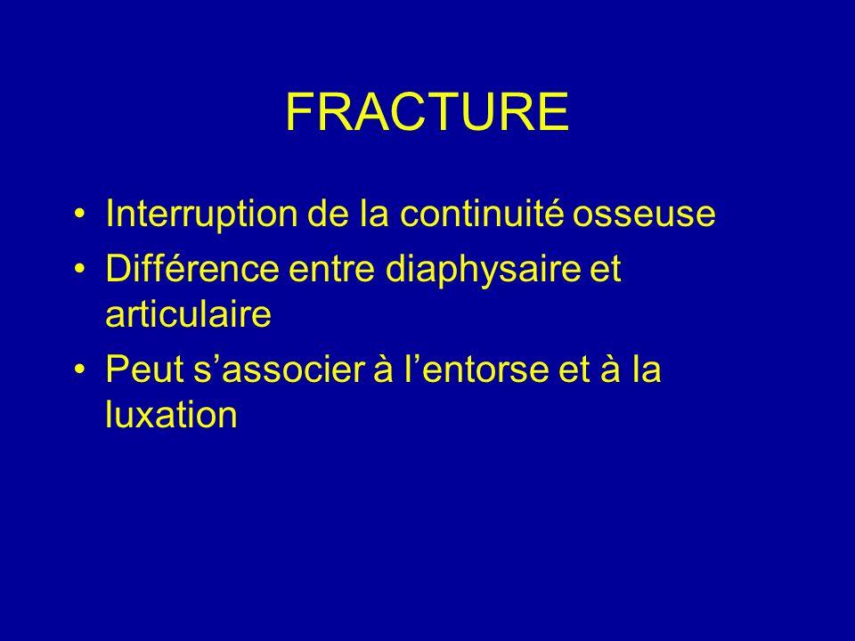 FRACTURE Interruption de la continuité osseuse Différence entre diaphysaire et articulaire Peut sassocier à lentorse et à la luxation