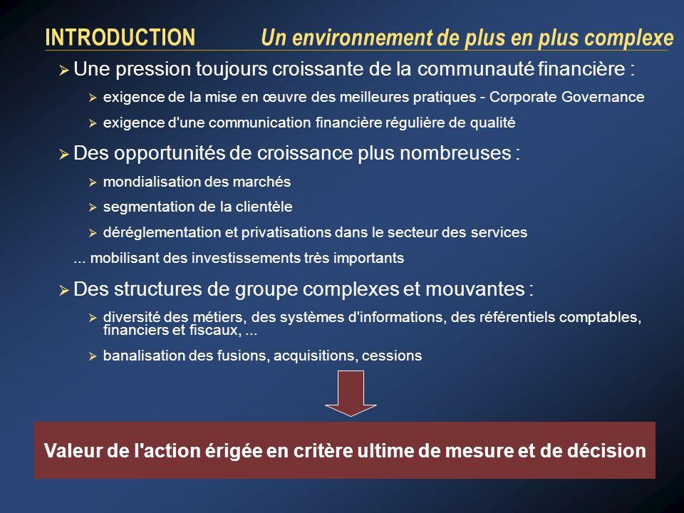INTRODUCTION Un environnement de plus en plus complexe Une pression toujours croissante de la communauté financière : exigence de la mise en œuvre des